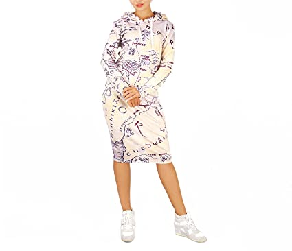 3D Middle Earth Map Print Hoodie Dress Women Pullover Pocket ...