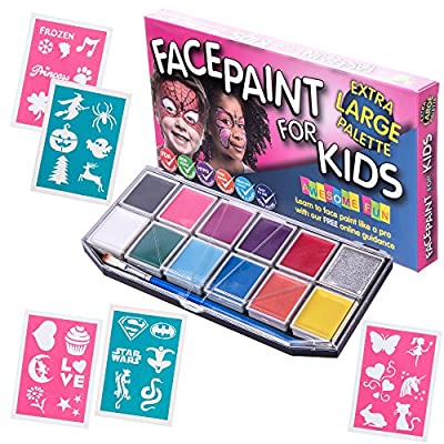 Face Paint Kit with 30 Stencils (XX-Large) Best Quality Face Painting Set for Kids -12 Colors +Glitter Gel +3 Brushes - Halloween Party Pack +FREE Online Guide, Cosmetic Grade Non-Toxic, Boys & Girls