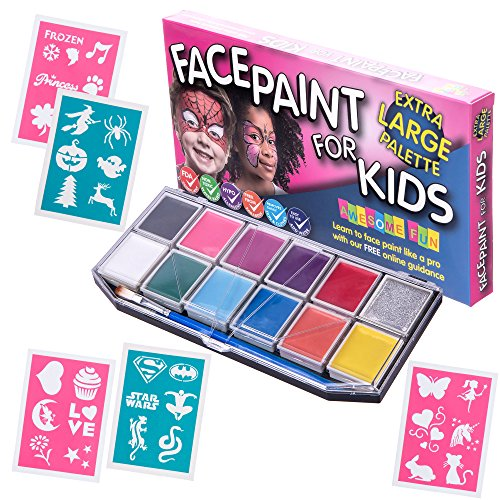 Face Paint Kit with 30 Stencils for Kids. X-Large Jumbo Palette, Sturdy Case with 12 Colors, 3 Brushes & Glitter Gel. Professional Water-Based Non-Toxic Face & Body Painting Set, Bonus Online (Dance Costumes On Line)
