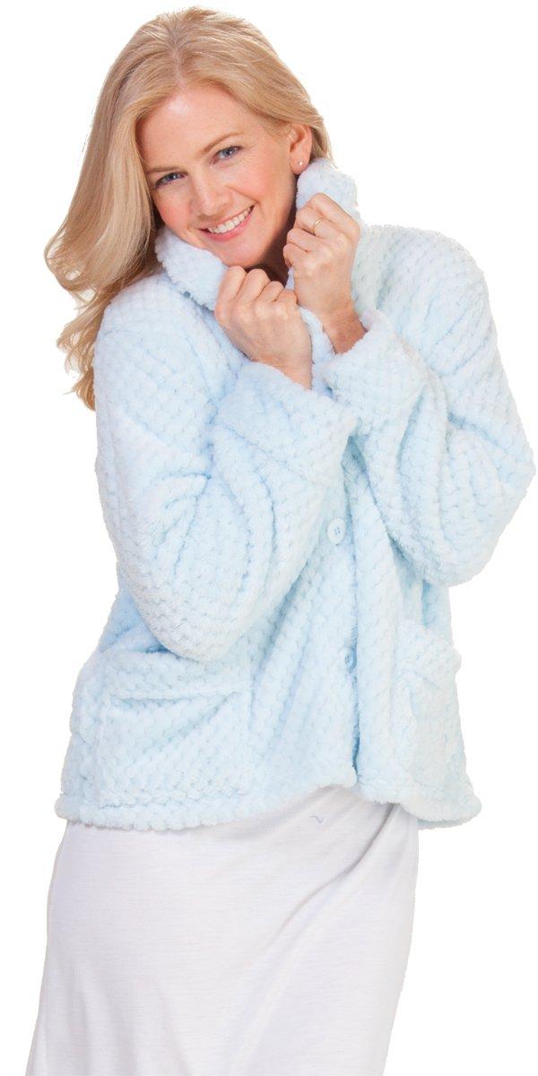 La Cera Shawl Collar ''Marshmallow Fleece'' Bed Jacket in Blue (Medium (10-12), Blue)