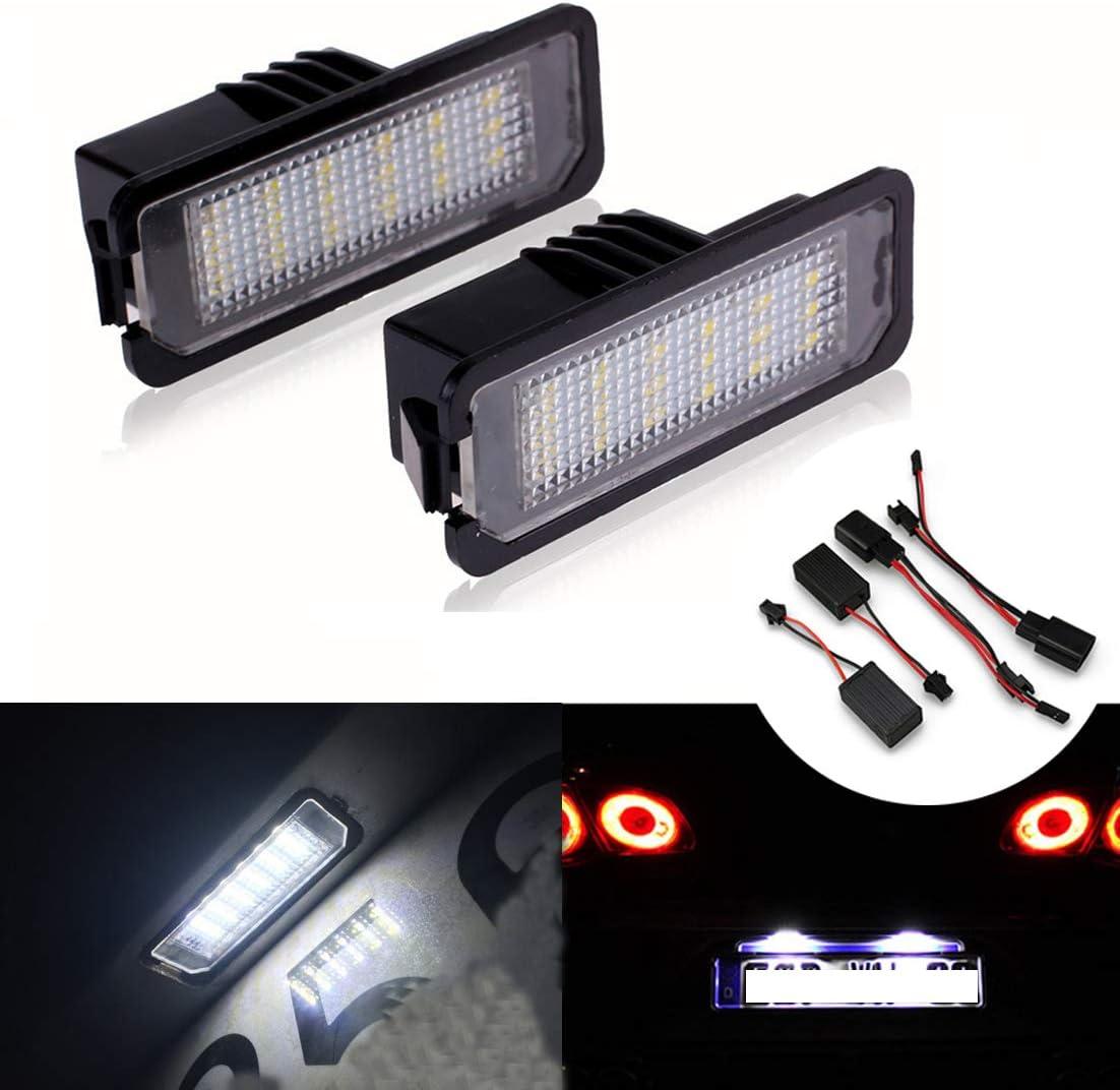 MOLEAQI 2x18SMD LED de matr/ícula Libre de Errores L/ámparas de luz para V-W G-olf MK4 MK5 MK6 P-assat P-olo CC EOS S-cirocco N/úmero de matr/ícula