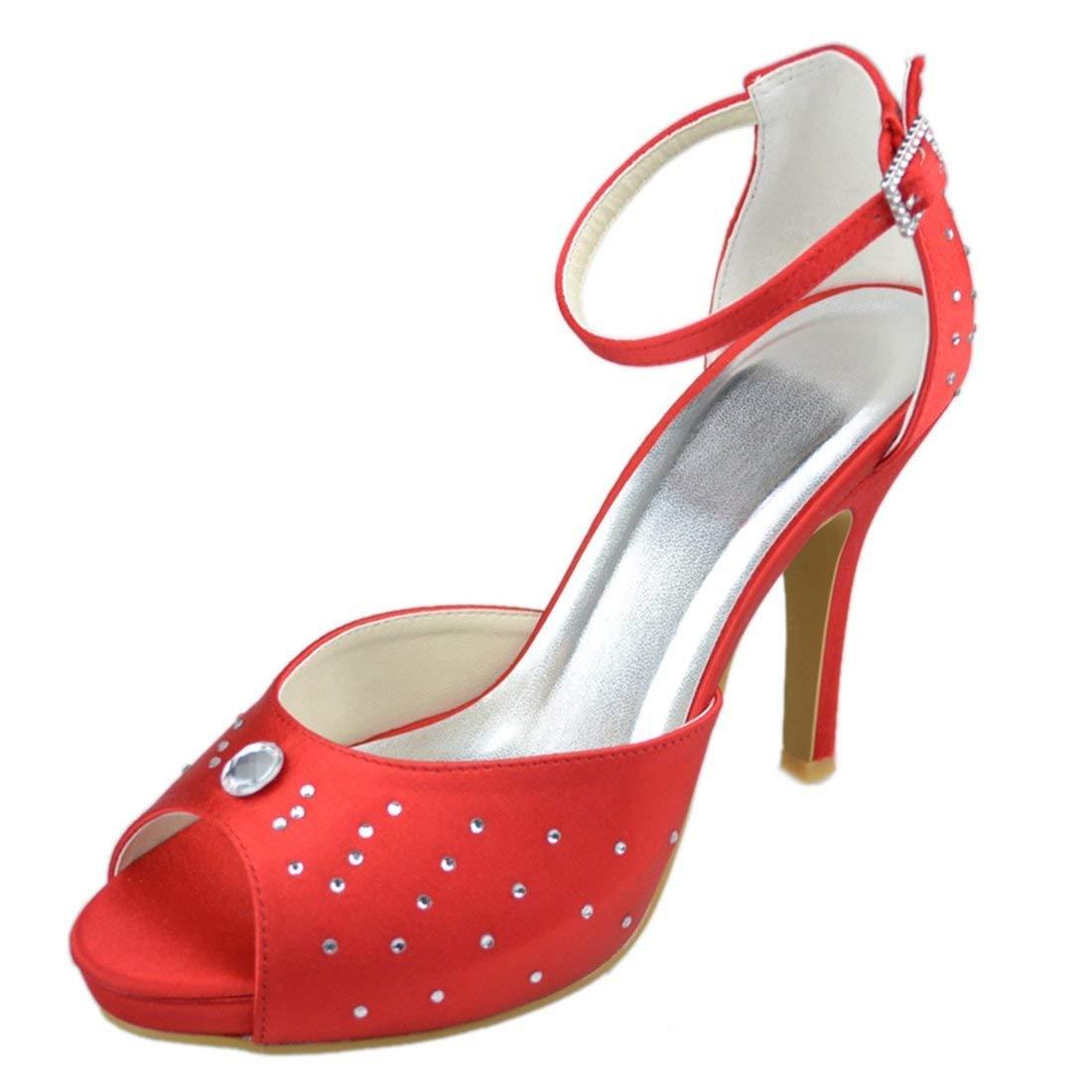 ZHRUI Y111 Damen Stiletto High Heel Satin Abend Party Braut Hochzeit Sparkle Riemchen Kristall Schuhe (Farbe   rot-10cm Heel Größe   5 UK)