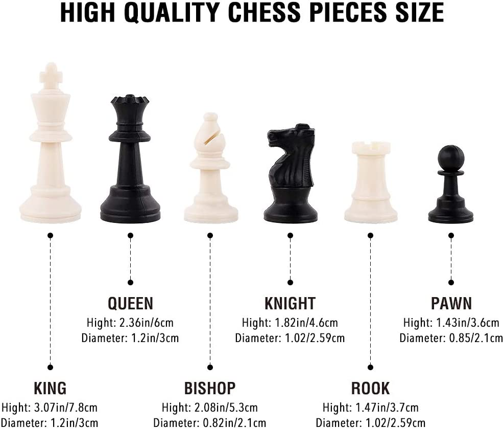 HAS Travel Chess Set for Kids Adults Wooden Checkers Board Game with ABS Pieces and Chessmen Storage Bag Great Travel Chess Set Strategy Game
