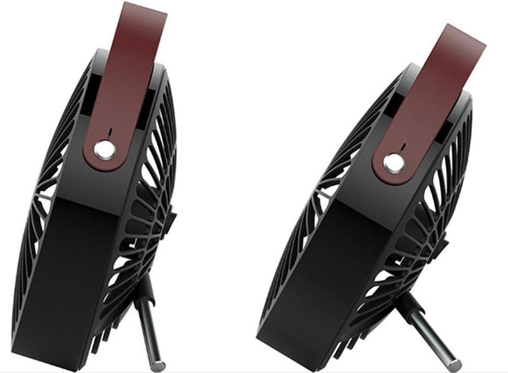 Jusdon 5.5 pollici portatile USB Mini ventilatore da tavolo ventilatore personale con impugnatura in pelle per ufficio in casa o in viaggio allaperto. Nero