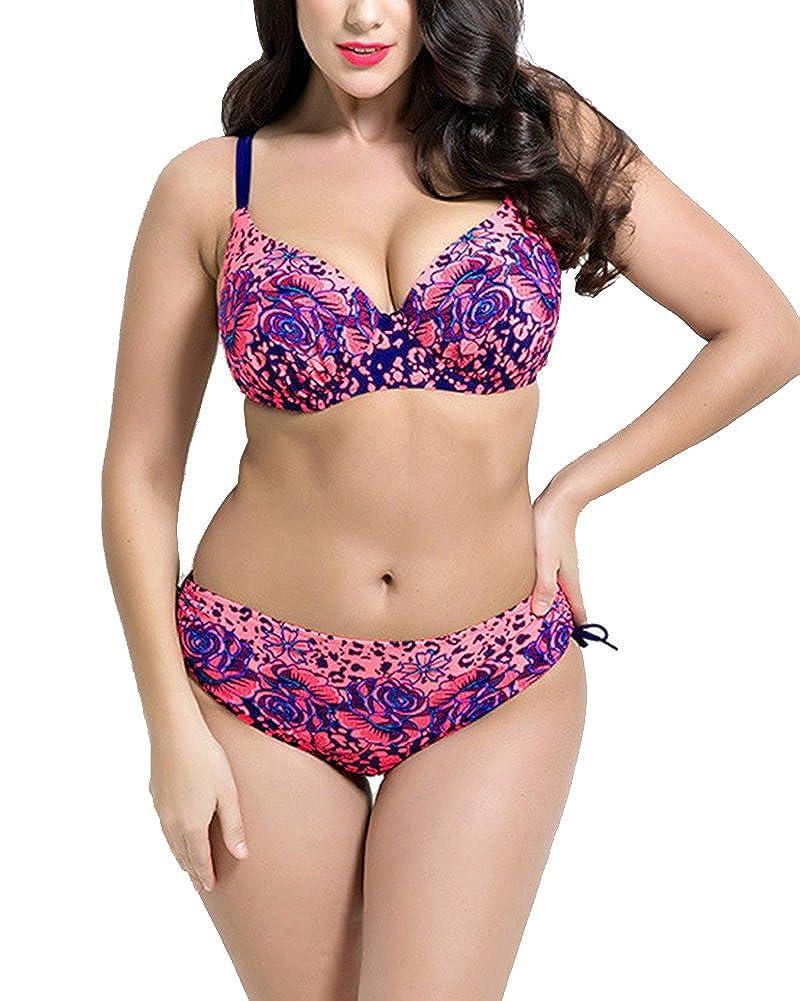 ShiFan Donne Taglie Forti Copricostume Push Up Bikini A Vita Alta Costumi da Bagno Due Pezzi