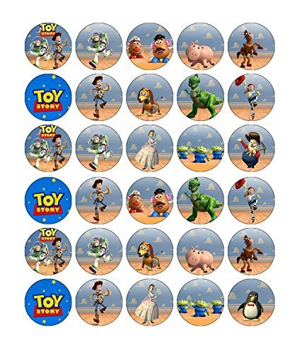 (30 x Edible Cupcake Toppers – Toy Story Themed Collection of Edible Cake Decorations | Uncut Edible Prints on Wafer Sheet - BUY 2 GET 3RD)