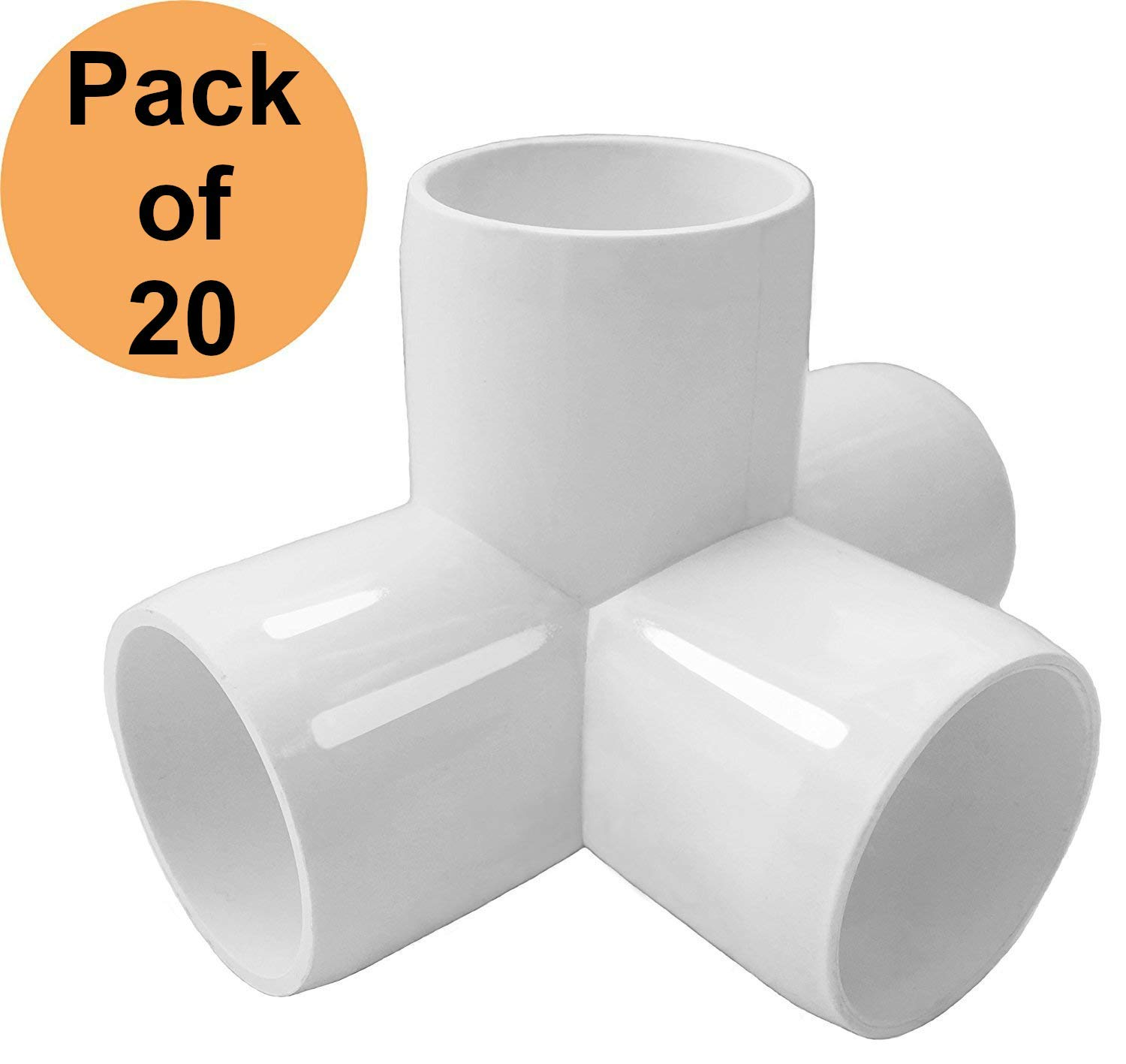 PVC FORTS 1/2 inch 4 Way Tee PVC Fitting Elbow Connector, White (Pack of 20)