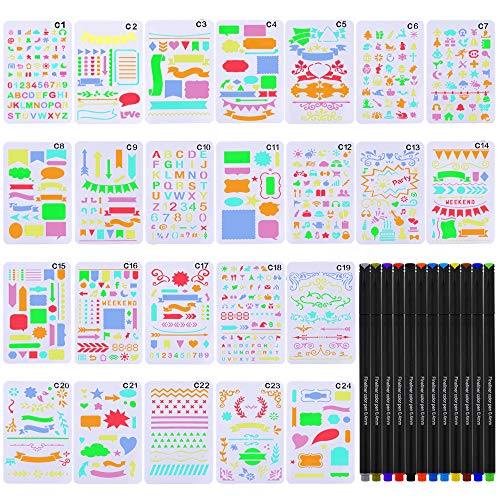 JPSOR Stencil Supplies, 24 Painting Stencils and 12 Colored Fineliner Pens,DIY Drawing Templates Plastic Planner Stencils for Journal, Notebook, Diary, Scrapbook