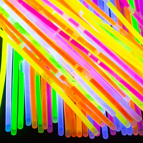 """f 8"""" Party Glow Sticks – 100 Premium Glow in the Dark Light Sticks with 100 Connectors – Ideal for Birthday Party, Music Festivals, Birthdays, Weddings and More (40 Pack) ()"""