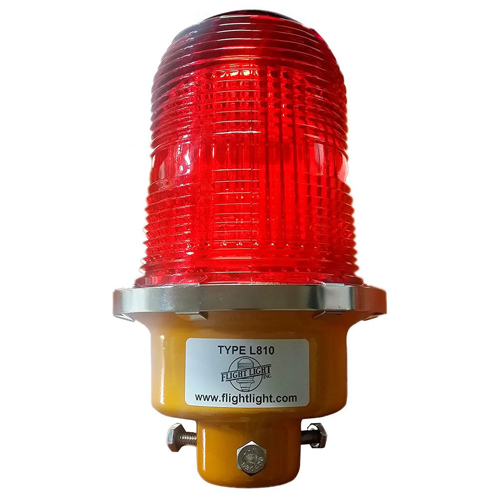 Incandescent Tower Obstruction Light, Aircraft Warning Light, L-810 Red Beacon - 230VAC with 3/4'' Bottom Hub