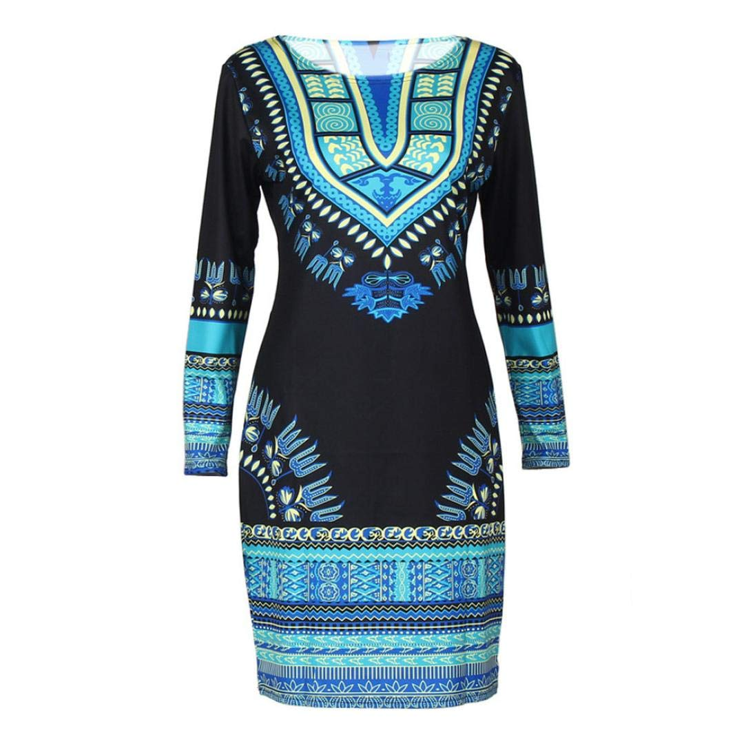Zlolia-Blouses Preferential New Women Traditional African Print Dashiki Bodycon Sexy Long Sleeve Dress