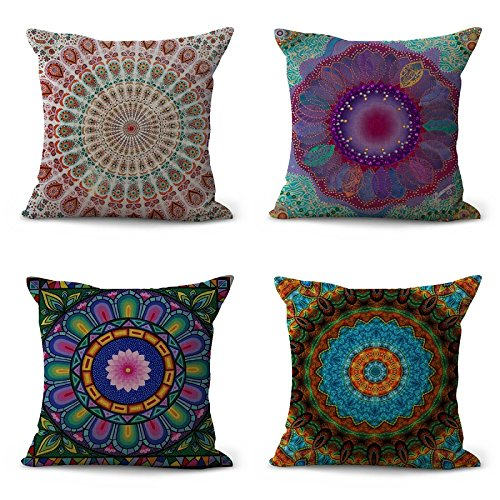 hrow Pillow Covers Beautiful Mandala Flower Prints Multi Color Cushion Covers for Couch, 18 x 18 inches (45cm x 45cm) (Pack of 4) (Mandala Flower) (Multi Color Pillow)