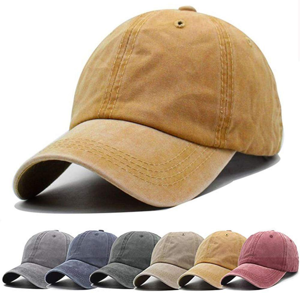 8e2054948f8 Vocanbomor Unisex Washed Twill Cotton Baseball Cap Vintage Distressed Plain  Adjustable Dad Hat (Yellow)