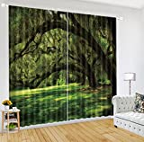 LB 2 Panels Room Darkening Thermal Insulated Blackout Window Curtains,Green Tree Gallery Window Treatment 3D Window Drapes for Living Room Bedroom,104 Inch Width by 96 Inch Length