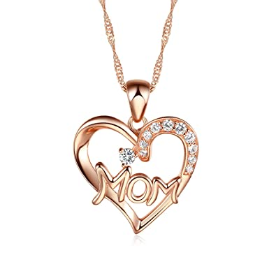 925 Sterling Silver Rose Gold plated Mum Heart Pendant Necklace with White CZ including 16 - 20 inch Singapore chain NqrPoDcs