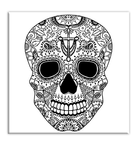 Sugar Skull Coloring Canvas For Adults, Stretched primed