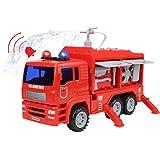 Camión de Bomberos Coches de Juguetes Modelos con Bomba de Agua y Accesorios, Luces y Sirenas El Mejor Juguete de Regalo para Niños 3 4 5