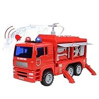 Nuheby Camion Pompier Vehicule Miniature Pulvérisateur d'eau Camion Enfant Pompier Enfant avec Lumières, Sons et Fonction Miniature Pompier Jeu Educatif pour Cadeau Enfant 3 4 5 Ans Garcon Fille