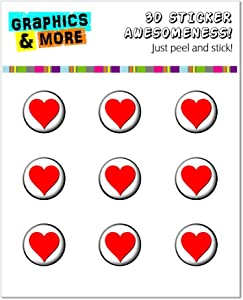 Graphics and More Red Heart - Love Home Button Stickers Fits Apple iPhone 4/4S/5/5C/5S, iPad, iPod Touch - Non-Retail Packaging - Clear