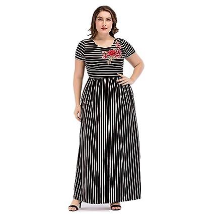 Cvbndfe Cómodo Falda Larga musulmán de Gran tamaño para Mujer Apliques de Rayas Costura Vestido de