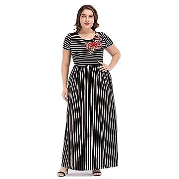 Yhjklm Elegante Falda Larga musulmán de Gran tamaño para Mujer Apliques de Rayas Costura Vestido de Punto Batas cómodo (tamaño : XXXXL): Amazon.es: Hogar