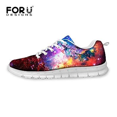 FOR U DESIGNS Cool Red Galaxy Print Flex Athletic Fashion Sneaker  Comfortable Sport Running Shoes Women ffde7566f