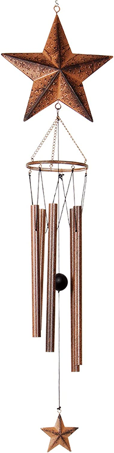 Epartswide Wind Chimes,Star Wind Chimes for Outside with 5 Hollow Aluminum Tubes, Rustic Wind Chime Hanging Decor for Garden Patio Yard