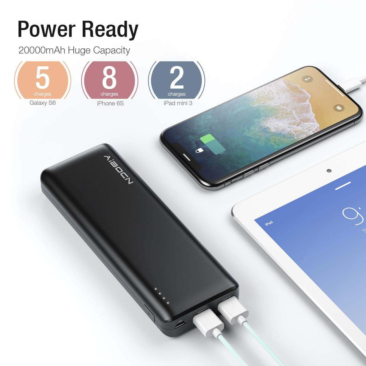 Aibocn Uranus 20000mAh Power Bank, Perfect Hand Feeling Portable Charger, High Capacity Compact External Battery Pack Fast Charging for iPhone, iPad, Samsung Galaxy, Android Phone, Tablet and More