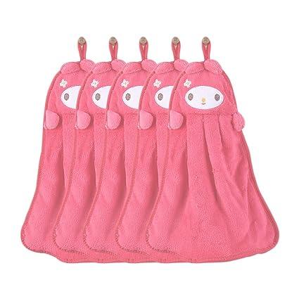daynecety 1pieza Nursery Cartoon Animal para colgar toalla de mano suave limpiador toalla de baño de