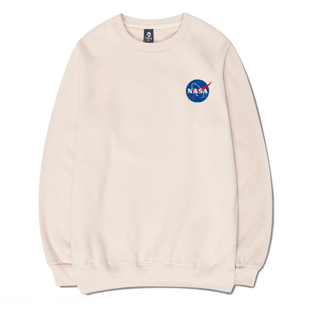 1_apricot Coli&Tori Fashion NASA Logo Print Hoodie Sweatshirt with Kangaroo Pocket(Smaller Than Standard Size)