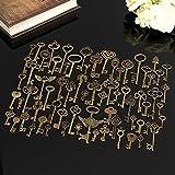 LiCHY Antique Vintage Old Look Bronze Skeleton Keys Fancy Heart Bow Necklace Pendant Fashion Accessories