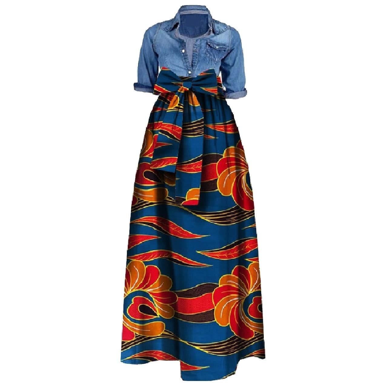 f38c2c93eece XiaoShop Women Plus Size Bow African Style Organic Cotton Long Maxi Skirt  at Amazon Women s Clothing store
