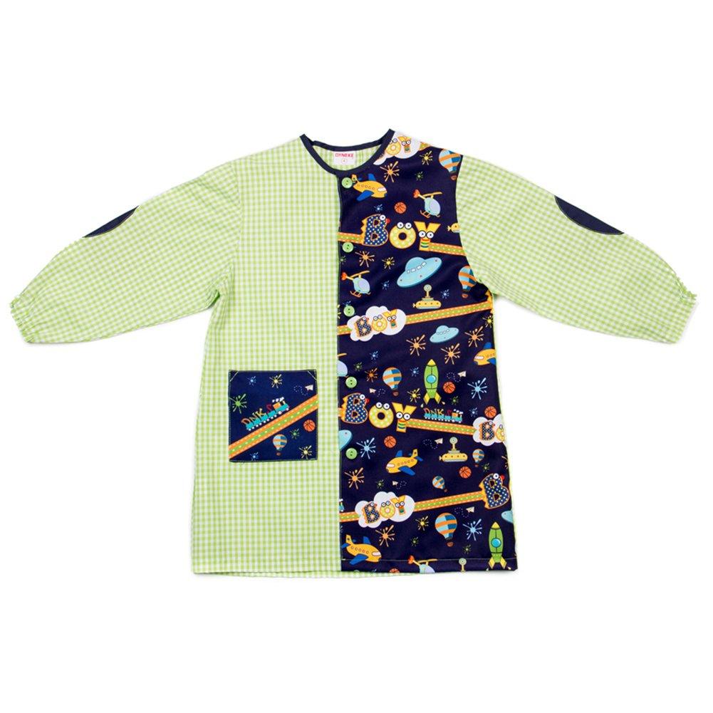 Dyneke Bata escolar botón verde Boy espacial (personalización opcional gratuita con nombre bordado)(Talla 4): Amazon.es: Ropa y accesorios
