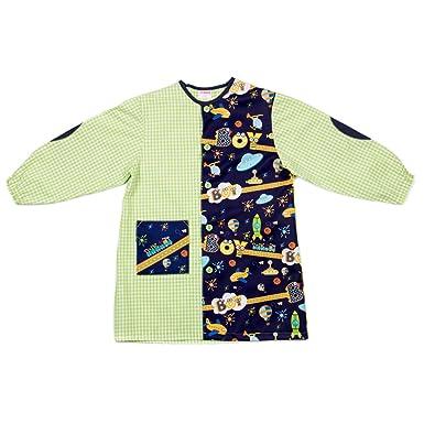 Dyneke Bata escolar botón verde Boy espacial (personalización opcional gratuita con nombre bordado)(