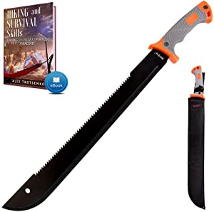 18,5 Inch Serrated blade Machete with Nylon Sheath - Saw Blade Machetes with Non-Slip Rubber Handle - Best Brush Clearing Tool - Comes with Survival E Book Grand Way 13153