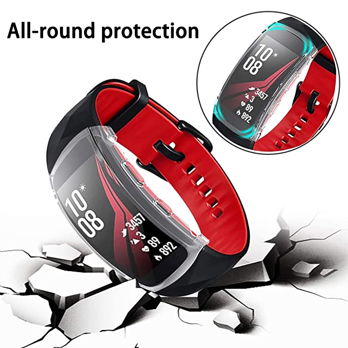 Samsung Gear Fit2 Pro Screen Protector Case,JZK Soft TPU Plated Case All-Around Protector Screen Cover Bumper Compatible Samsung Gear Fit2 Pro Smart ...
