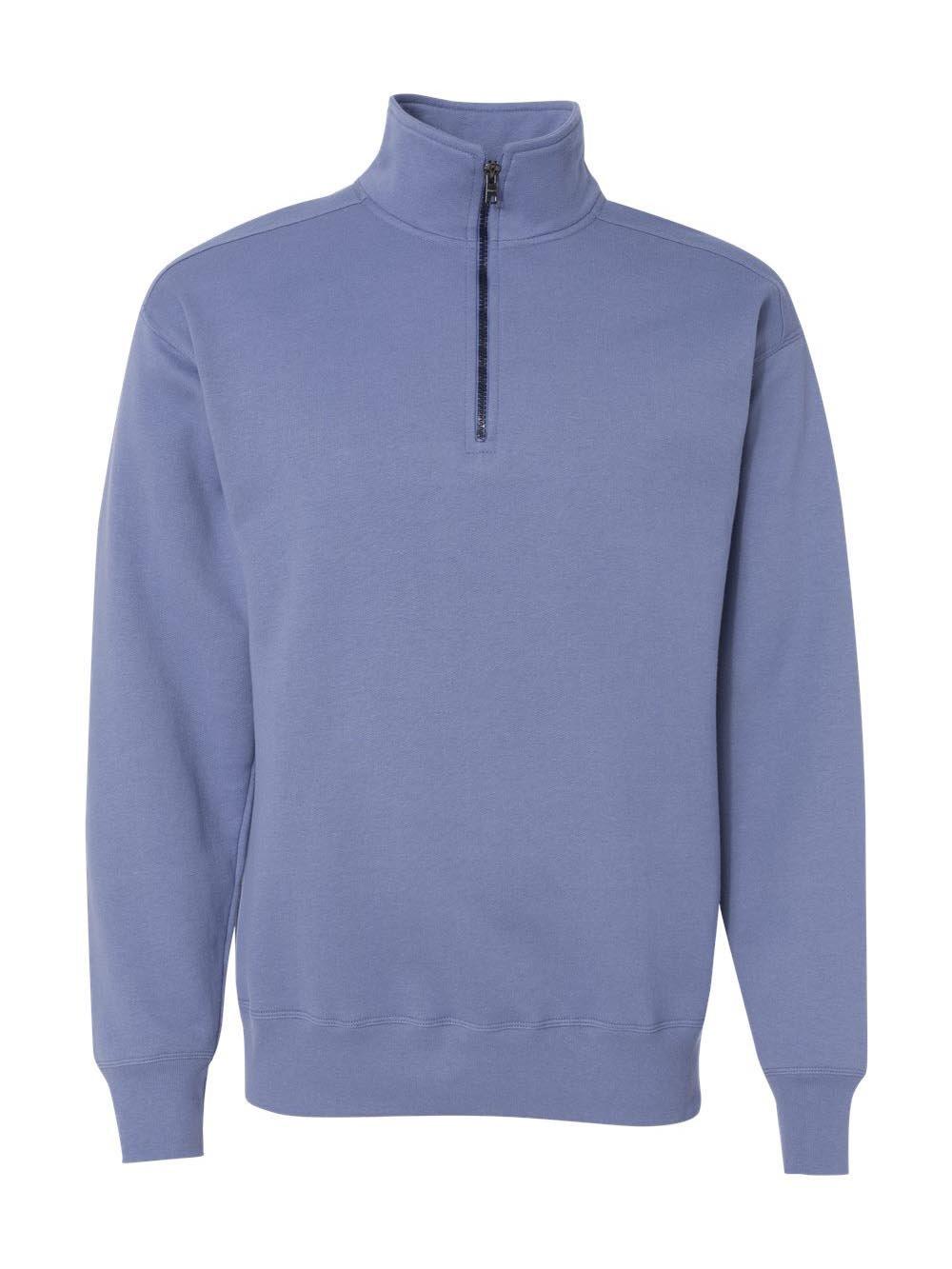 Hanes Men's Nano Quarter Zip Fleece Jacket, Vintage Denim, X-Large