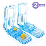2-Pack Pill Splitter - Pill Cutter with Retracting Blade Guard - for Cutting Small Pills or Large Pills in Half, Easily Cut Pills for Tablet Vitamin and Big Medicine. (Light Blue) (Color: Blue Pill Cut)