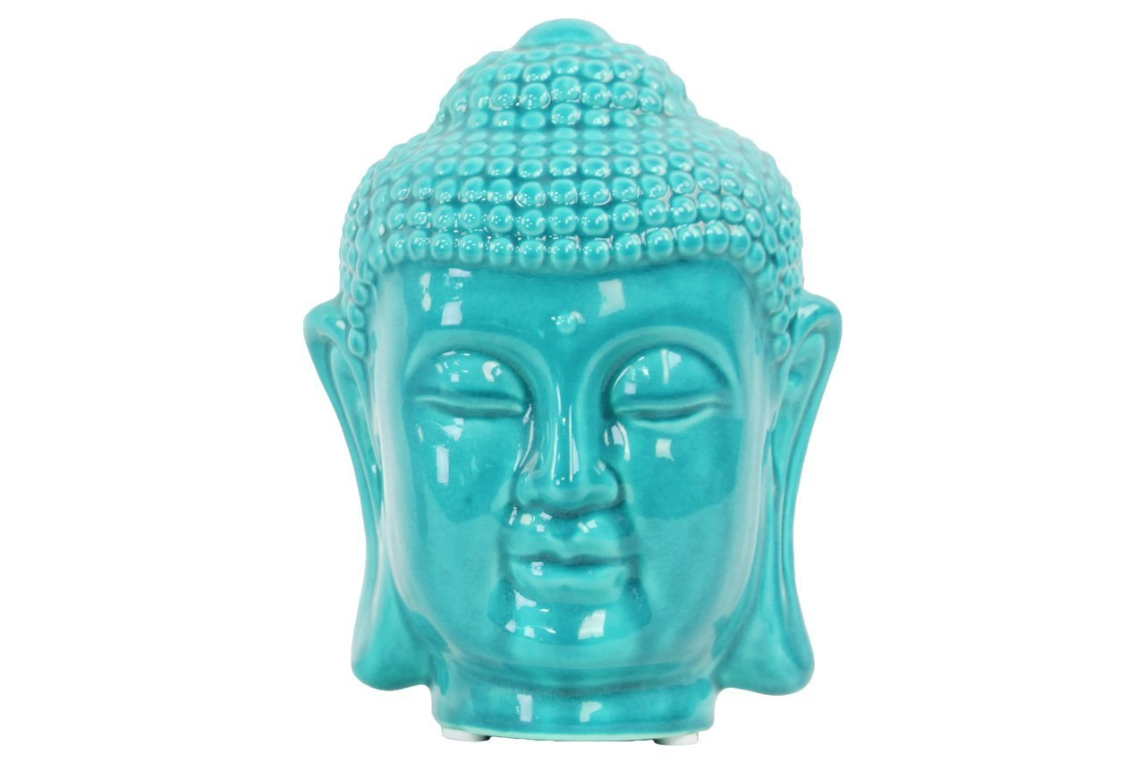 Urban Trends 50523 Gloss Finish Turquoise Ceramic Buddha Head With Rounded Ushnisha Urban Trends Collection