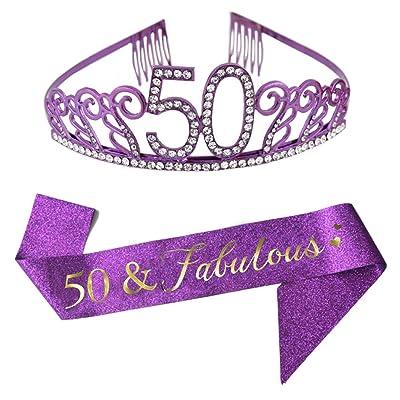 Amazon Com 50th Birthday Gold Crown And Sash Glitter Satin Sash And Crystal Rhinestone Tiara Birthday Crown For 50th Birthday Party Supplies Favors Decorations 50th Birthday Cake Topper Health Personal Care