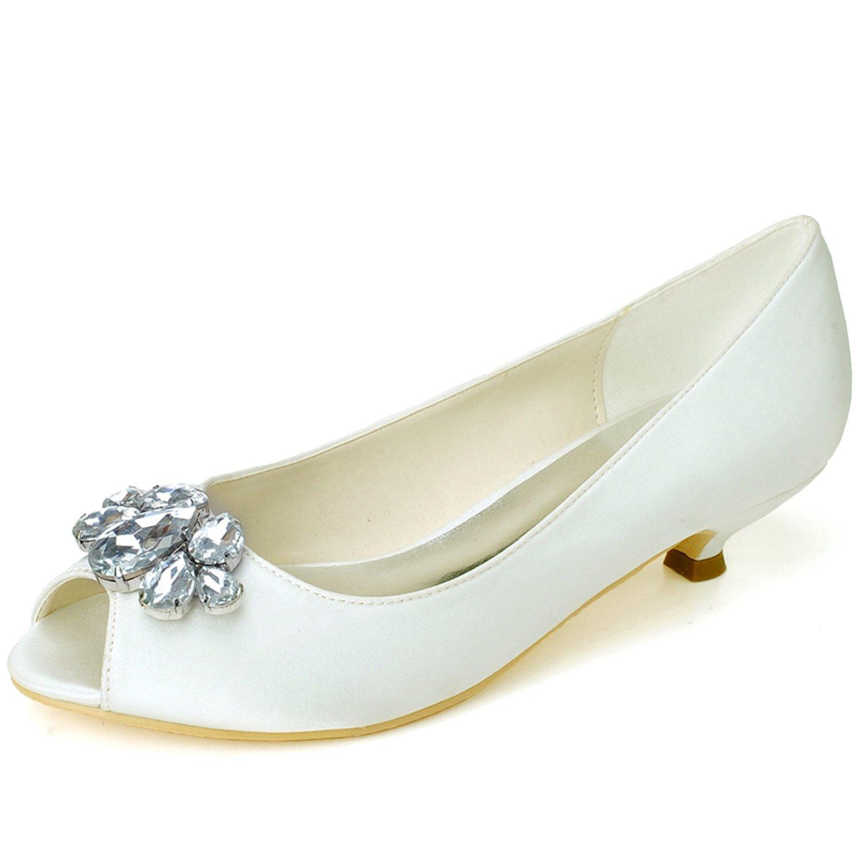 Elobaby Zapatos De Boda De Las Mujeres Rhinestones SatéN Peep Toe Flat Handmade/35-44 Size/3.5 Heel 38 EU|Ivory