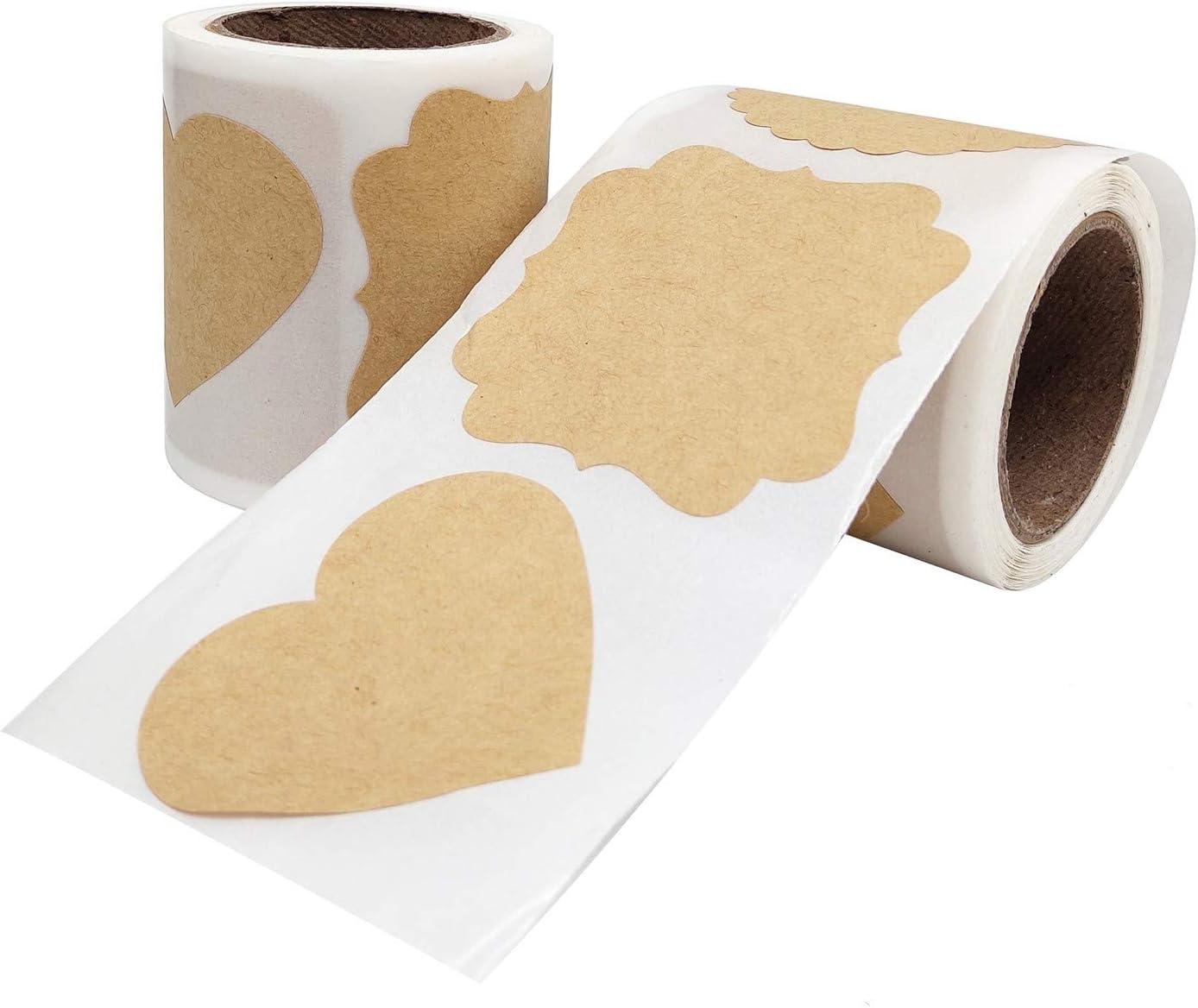 Marrone Etichette da Cucina Kraft di Carta per vasetti di conservazione Vasetti per spezie JJ QHYC Etichette Adesive kraft 200 pezzi