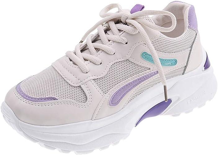 NYGSTORE - Zapatillas de Running para Mujer, con Cordones, Color Mixto, atlético, Neutro, Transpirables, con cuñas, Beige (Beige), 36 EU: Amazon.es: Zapatos y complementos