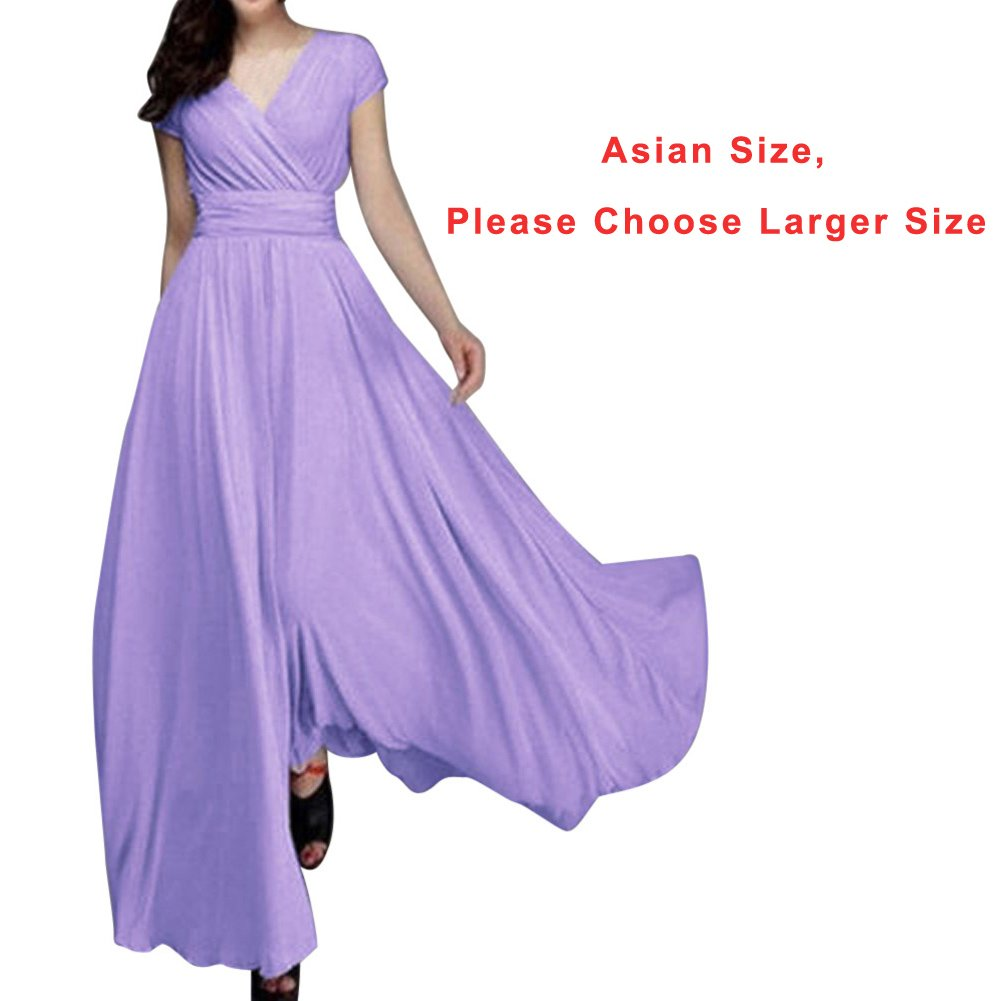 Ankola Dresses,Fashion Women Chiffon V-Neck Cap Sleeve Wrap Evening Party Long Dress (Light Purple, 2XL) by Ankola