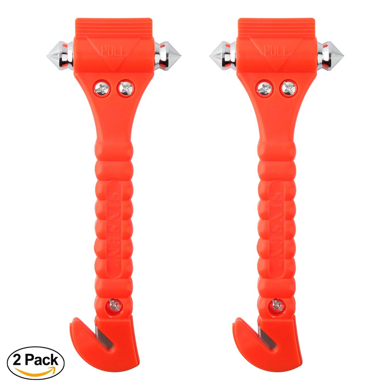 Auto-Sicherheitshammer Set von 2 Notfall-Ausstiegswerkzeugen 2 St/ück Autofenster Glashammer und Sicherheitsgurtschneider