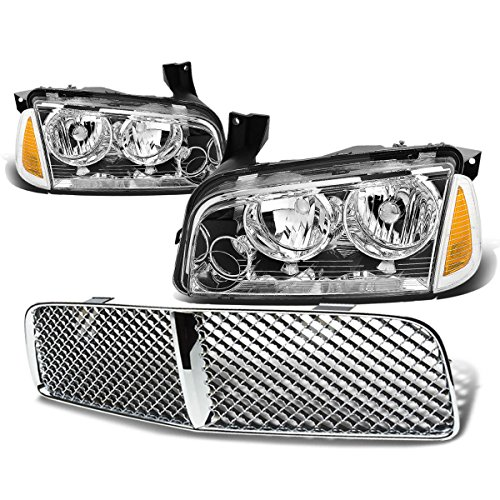 (For Dodge Charger Pair of Chrome Housing Amber Corner Headlight+Chrome Front Grille)