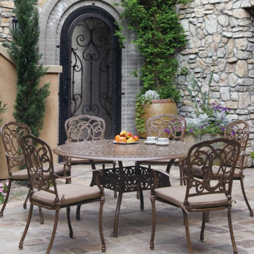 Darlee Florence 7 Piece Cast Aluminum Patio Dining Set With Round Table - Mocha -