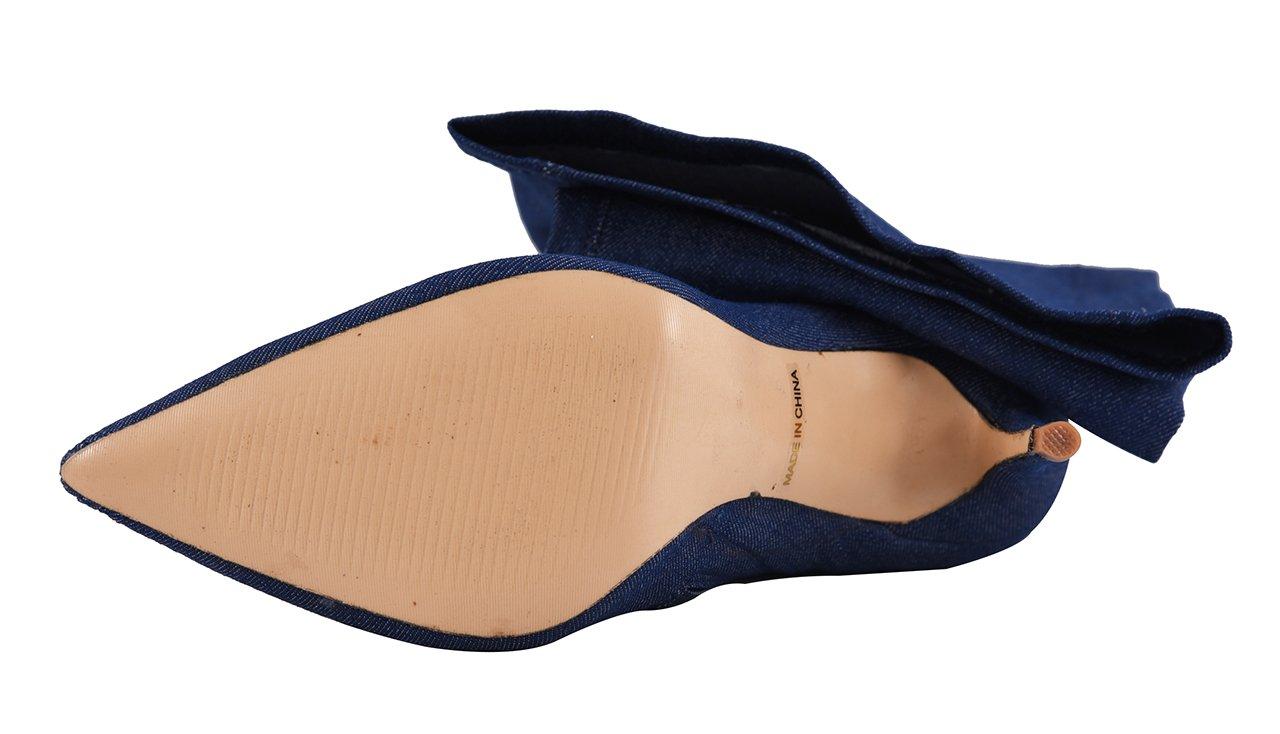 CAMSSOO Women's Thigh High Stretch Boots Side Zipper Pointy Toe Stiletto Heel Knee High Boots B01N4DECF7 US10/42|Blue Denim