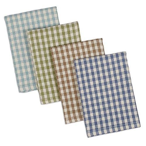 DII Cotton Heavyweight Plaid Dish Cloths Kitchen Gift, 12 x 12