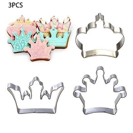 molyveva 3pcs único Príncipe Princesa corona Cookie Cutter Cake Molde DIY de acero inoxidable, color